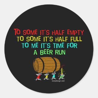 Beer Run Humor Classic Round Sticker