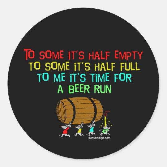 Beer Run Humour Classic Round Sticker