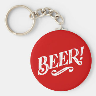 BEER SHOUTOUT RED WHITE BAR BEVERAGE ALCOHOLIC LOG KEY CHAIN
