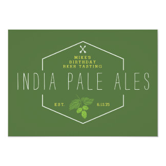 Beer Tasting Party Signage, IPA, India Pale Ale 5x7 Paper Invitation Card