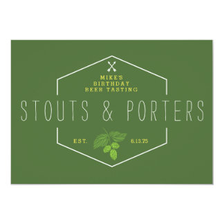 Beer Tasting Party Signage, Stouts & Porters 13 Cm X 18 Cm Invitation Card