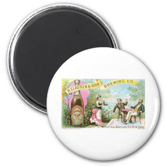 Beer Vintage Drink Ad Art 6 Cm Round Magnet