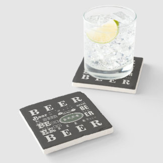 Beer- White & Green Collage Stone Coaster