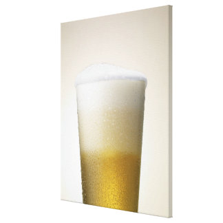 beer with foamy head canvas prints