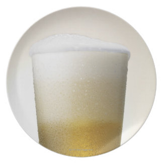 beer with foamy head dinner plates