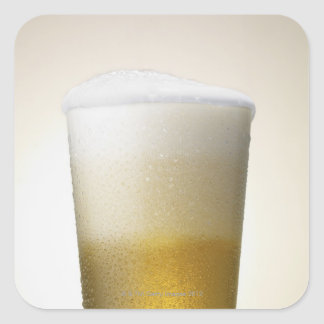 beer with foamy head square sticker