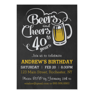 Beers and Cheers Birthday Chalkboard Invitation