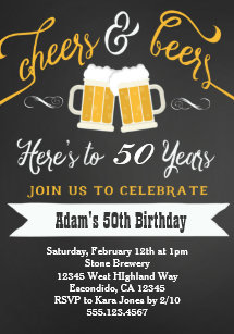 Beers And Cheers Birthday Invitation 30th 40th Etc