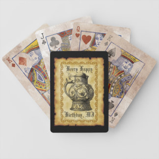 Beery Happy Birthday  Antique Beer Stein Vintage Poker Cards