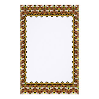 Bees and Honeycomb Pattern Stationery