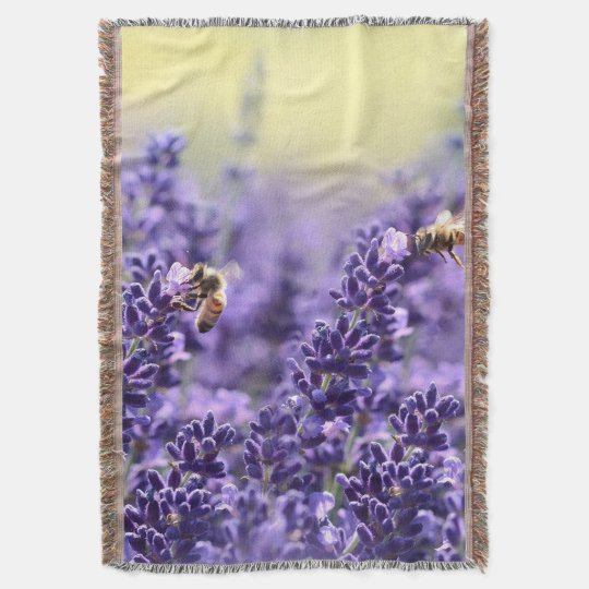 Bees and Lavender Throw Blanket