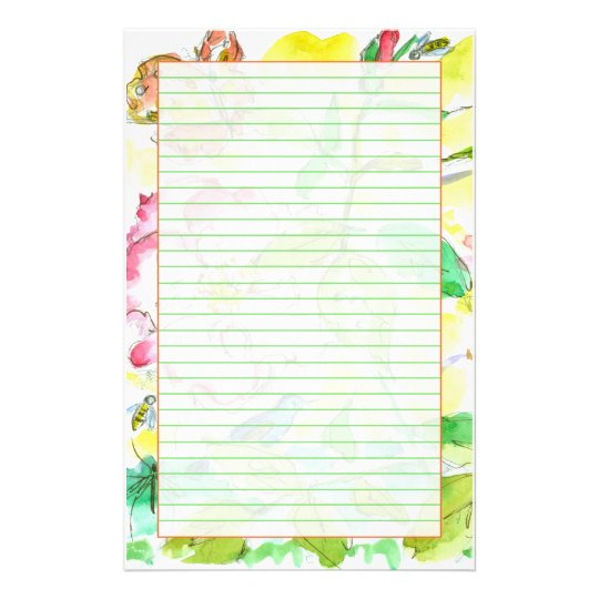 Bees Butterflies Bluebirds Green Lined Stationery