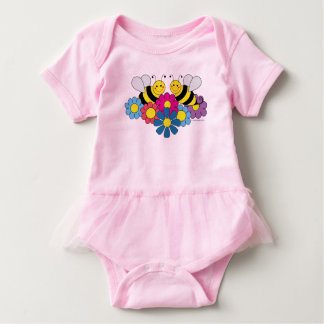 Bees & Flowers Design Illustration Baby Bodysuit