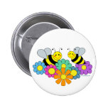 Bees & Flowers Pinback Buttons