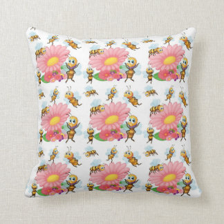 Bees Flying Around Spring Flowers Cushion