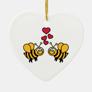 Bees hearts love christmas ornament