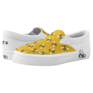 Bees Honeycomb Honeybee Beehive Pattern | Monogram Printed Shoes