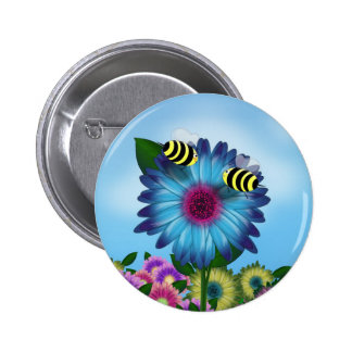 Bees Meeting in the Garden 6 Cm Round Badge