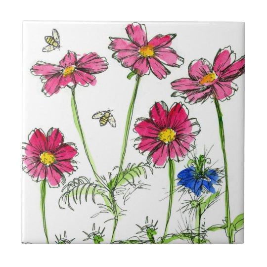 Bees Nigella Hot Pink Cosmos Watercolor Flowers Tile