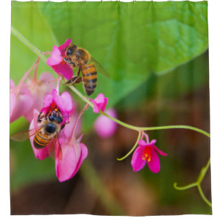 Bees On Coral Vine Flowers Photograph Shower Curtain