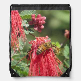Bees on Pink Flower Rucksack