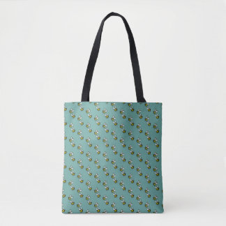 Bees on seagreen tote bag