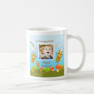 Bees wishing happy birthday with photo coffee mug