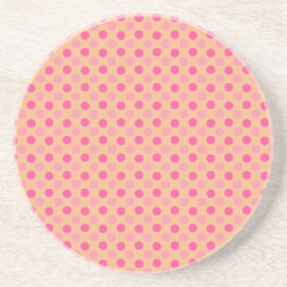 Beeswax And Pink Polka Dots Pattern Beverage Coaster