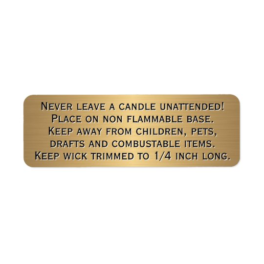 Beeswax Candle Warning Label