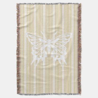 Beeswax Victorian Stripe with Butterfly Throw Blanket