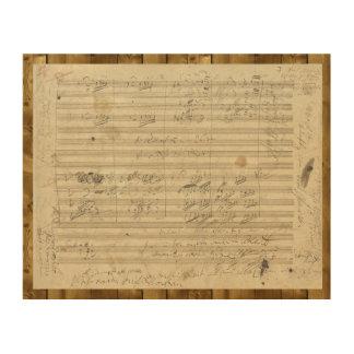 Beethoven 9th Symphony, Music Manuscript Wood Wall Decor