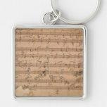 Beethoven Hammerklavier Sonata Music Manuscript Silver-Colored Square Key Ring
