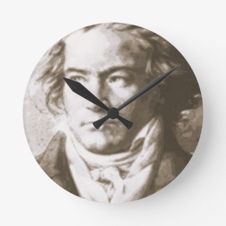 Beethoven In Sepia Round Clock