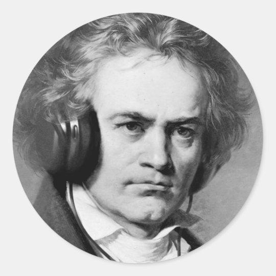 Beethoven Rocks Round Sticker