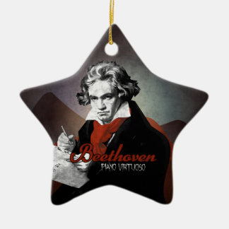 Beethoven virtuous piano black christmas ornament