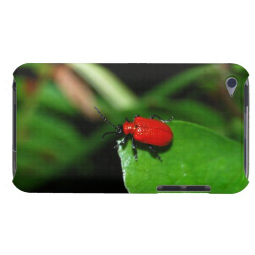 Beetle of shining red color in the leaves iPod Case-Mate case