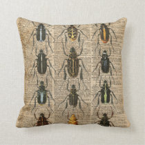 Beetles Bugs Zoology Vintage Illustration Art Cushion