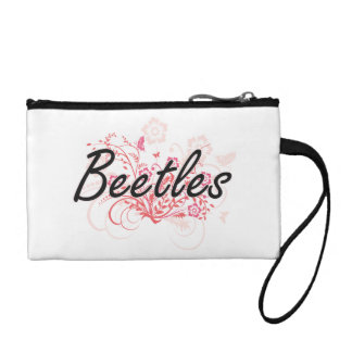 Beetles with flowers background coin purse