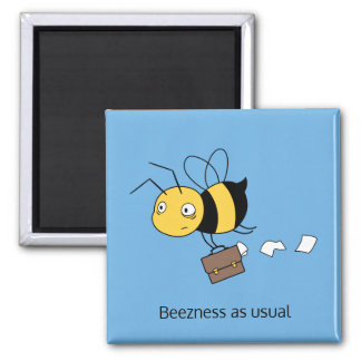 Beezness Bee - Stressed Bee Holding Briefcase Square Magnet