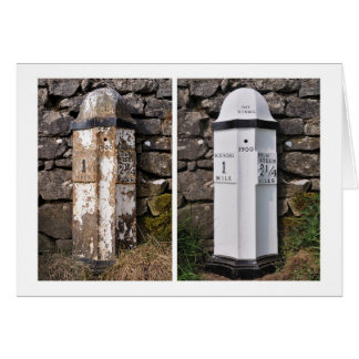 """Before and After"" - A cumbrian mile post Card"