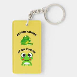 Before coffee After coffee frog Key Ring