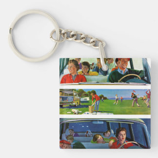 Before, During & After Picnic Double-Sided Square Acrylic Key Ring