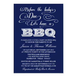 Before The Baby's Due, Let's Have A BBQ! 13 Cm X 18 Cm Invitation Card
