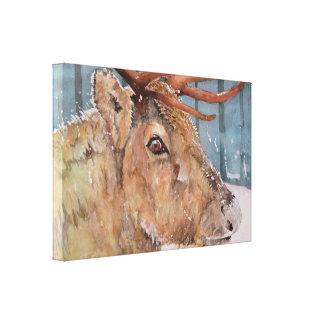 Before The Dusk. Reindeer in snow. Canvas Print