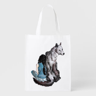 Befriending a Wolf reusable grocery bag