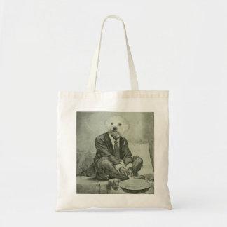 Begging dog vintage altered image tote bag