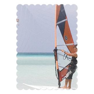 """Beginner Windsurfer 5"""" X 7"""" Invitation Card"""