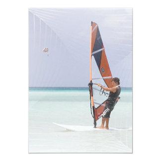 """Beginner Windsurfer Invitation 5"""" X 7"""" Invitation Card"""