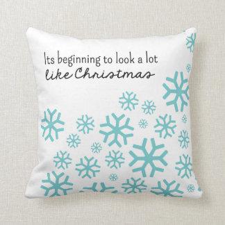 Beginning to Look a Lot Like Christmas | White/Blu Cushion