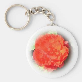 Begonia Flower Basic Round Button Key Ring